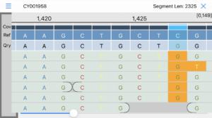 screenshot from iGenomics app showing DNA