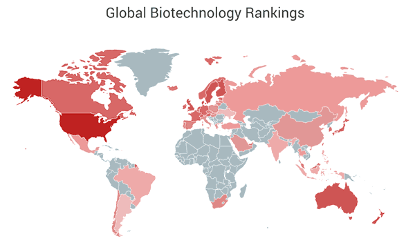 World map that shows global biotechnology ranking based by country.
